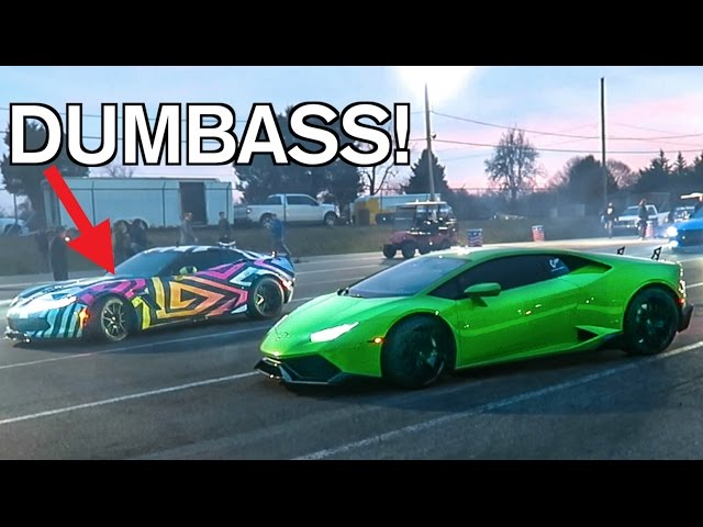 COCKY Corvette Gets DESTROYED By A Stock Lamborghini LOL!