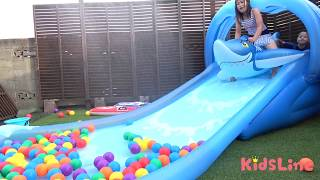 ウォータースライダー サメちゃんフロート すべり台 水遊び ボールプール こうくんねみちゃん Water slider Shark float Ball Pit