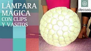 Lámpara con vasos de plástico y clips (tutorial-DIY) | RECICLAJE | Ideas decorativas