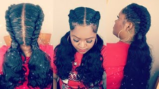 School Girl Braids and Ponytails ft. AliExpress Luvin Hair Brazilian Body Wave Hair Tutorial