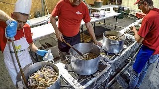 Tons of Sausages with Red Wine. Italy Street Food