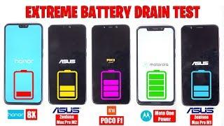 Zenfone Max Pro M2 vs Honor 8X vs MotoOnePower vs Max Pro M1 vs PocoF1 -EXTREME BATTERY DRAIN TEST🔥