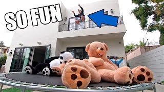 TRAMPOLINE VS. GIANT TEDDY BEARS