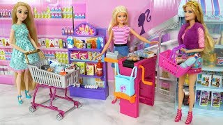 Barbie Supermarket Toy unboxing - Rapunzel Grocery Shopping - Barbie doll Bicycle Bike