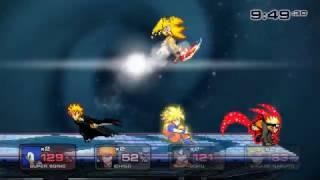 especial battle  super sonic vs ichigo vs goku vs naruto ssf2