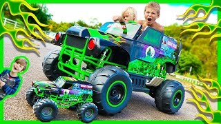 Power Wheels Ride on Monster Truck Grave Digger CRUSHES RC Monster Truck - Surprise Toy Unboxing