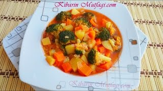 Zeytinyağlı brokoli yemeği tarifi - Sebzeli sulu nefis yemek tarifleri - Kibarin mutfagi