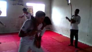 Professor  Bem-te-vi aula de defesa pessoais com movimento de capoeira