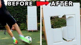 How many Kicks for a FOOTBALL to break through a DOOR??