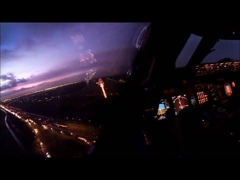KLM Boeing 747-400F Landing Amsterdam - Cockpit View Timelapse