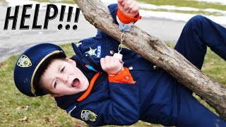 IMPOSTER vs Kid Cops- Sketchy Mechanic Handcuffs Officer Ryan Family Fun Nerf Rival War Silly Video