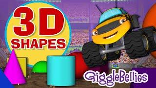 Monster Trucks Learn 3D Shapes | GiggleBellies