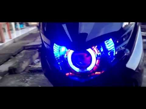 My Yamaha Mio Soul GT with double angle eyes HID Xenon projector