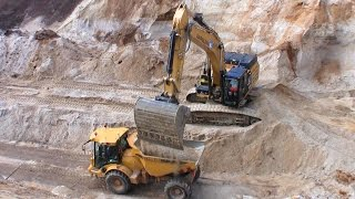 Cat 349E Excavator Loading Semi Trucks And Hydrema Dumper