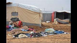 هذا ما خلفته السيول و العاصفة الرملية على مخيمات النازحيين على الحدود مع الأردن بريف درعا