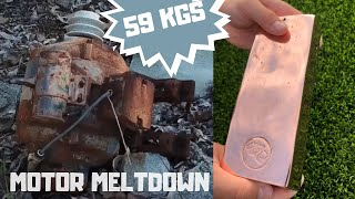 59 KG Motor Found in Bush Melted for Huge Copper Bar - Real Trash To Treasure Copper Bullion ASMR