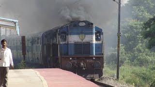 Smoking+Chugging Twins ERODE WDM-3D Chennai Egmore-Guruvayur Express INDIAN RAILWAYS