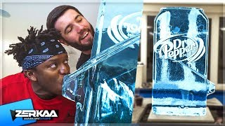 WE GOT A GIANT DR PEPPER ICE SCULPTURE!