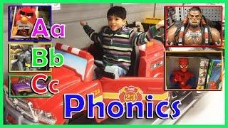 Learning ABC Letters Phonics using toys, Disney Cars, Spiderman, Batman, Power Wheels