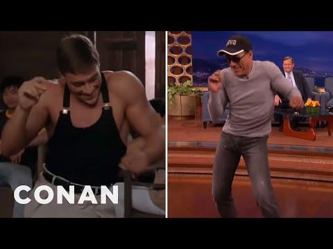 """Jean Claude Van Damme Recreates His """"Kickboxer"""" Dance Scene CONAN on TBS"""
