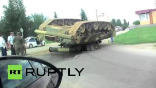 Meanwhile in Russia: T-80 tank overturned in road mishap
