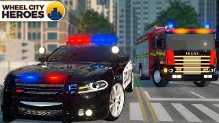 Excavator Calls Emergency Truck with Firefighter Truck   Wheel City Heroes Police Car Cartoon