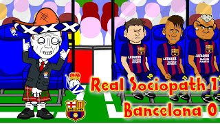 🇪🇸REAL SOCIEDAD vs BARCELONA 1-0🇪🇸(4.1.15 Alba own goal David Moyes Football Cartoon by 442oons)