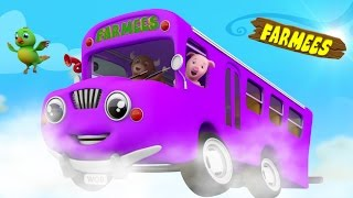 The Wheels On The Bus Go Round And Round | Nursery Rhymes With Farmees | Baby Rhymes | Kids Songs