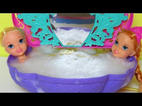 BATH time! SHOPKINS in the Bathtub! ELSA & ANNA toddlers PLAY with Soap Foam Water Play
