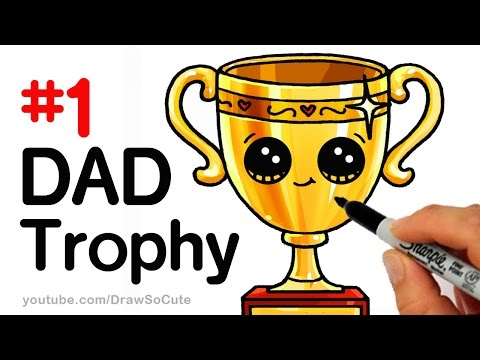 How to Draw a Trophy for DAD for Father s Day step by step Cute