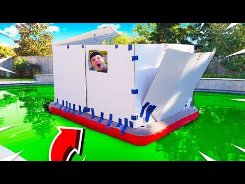 BOX FORT BOAT IN A POOL OF SLIME