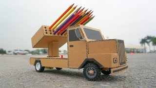 How to make Missile Launcher Truck Toy - Diy Rc cardboard Truck _ Pencils Holder