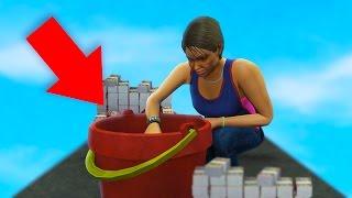 CAN 1 BUCKET HOLD $10,000,000? EASY GTA 5 MONEY! (GTA 5 Funny Moments)