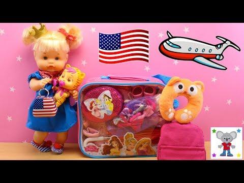 Bebé NENUCO CUCA va de Vacaciones y preparo la Maleta de las Princesas Disney para ir de VIAJE a NY
