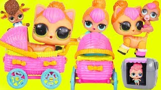 Neon QT LOL Surprise Dolls Pet and Lil Sister get New Custom Stroller + Lil Brother with McDonalds