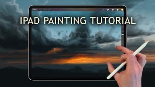 Apple Pencil drawing / iPad Pro Painting Demo, How to paint sky in Procreate art app