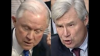 IT SAYS IT RIGHT THERE!!! Sheldon Whitehouse CONFRONTS Jeff Sessions on His BS Defense of Trump