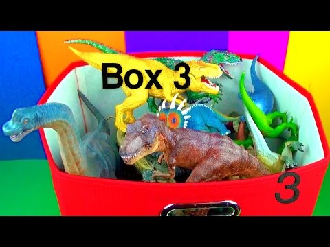 DINOSAUR Box 3 TOY COLLECTION Jurassic World T rex Spinosaurus Toy Review SuperFunReviews