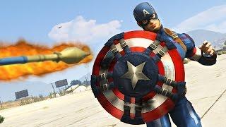 CAPTAIN AMERICA'S SHIELD vs ROCKETS!! (GTA 5 Mods)