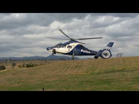 Victoria Police Airwing Helicopter Landing in a Farm