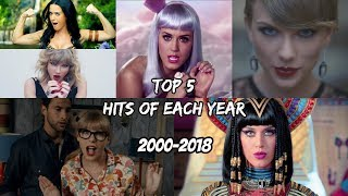 Top 5 Worldwide Hits of Each Year (2000 - 2018) Time Travel Through Music