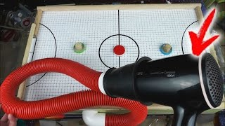 Homemade Air hockey using HAIRDRYER. How to Make Mini Air hockey