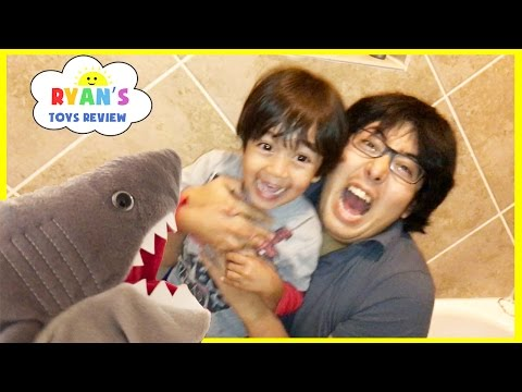 PET SHARK ATTACK Playing Chase and Hiding Family Fun Activities for Kids Toy Shark Pretend Playtime