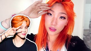 ORANGE HAIR COLORING W/conditioner! (I'm Basically Jimin) + Chicago Trip!!!