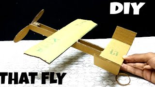 How to make rubber band plane out of cardboard   DIY   HOW TO    THAT FLY   KMA INSANE HACKER