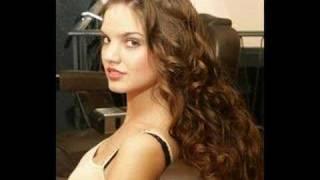 Lena...modelling her long hair in the street