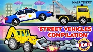 Street Vehicles | Compilation | Police Car, Ambulance,  Fire Truck,  Bulldozer | Real City Heroes