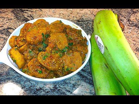 How to cook Plantains | Kache Kele Ki Sabzi | Curried Raw Banana Vegan Recipe