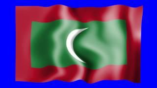 Maldives Waving Flag Blue Screen