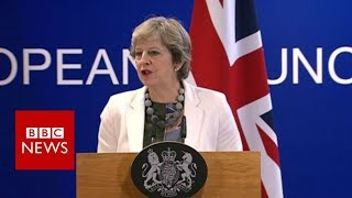 """Brexit Negotiations: Theresa May """"ambitious and positive"""" - BBC News"""